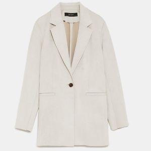 Zara Faux Suede Blazer Jacket Size L